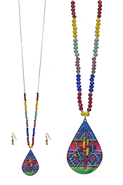 MULTI COLOR SEED BEAD AND PAINT TEARDROP PENDANT LONG NECKLACE SET