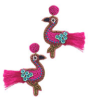 HANDMADE SEEDBEAD ART EARRING - TROPICAL BIRD