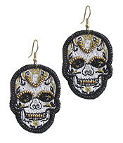 HANDMADE SEEDBEAD ART EARRING - SKULL