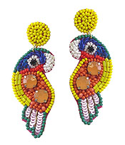 HANDMADE SEEDBEAD ART EARRING - TROPICAL BIRD - PARROT