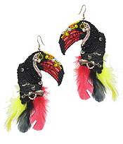 HANDMADE SEEDBEAD ART EARRING - TROPICAL BIRD - TOUCAN