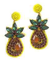 HANDMADE SEEDBEAD ART EARRING - PINEAPPLE