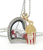 ORIGAMI STYLE FLOATING CHARM LOCKET PENDNT NECKLACE - POPCORN