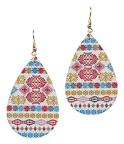 AZTEC PATTERN TEARDROP EARRING