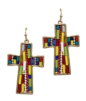 MULTI SEED BEAD CROSS EARRING