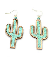 WOOD CACTUS EARRING - MARBLE
