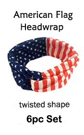 6PC SET- AMERICAN FLAG TWISTED TURBAN HEADWRAP