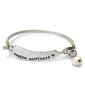 RELIGIOUS INSPIRATION BUTTER KNIFE WIRE BANGLE BRACELET - SPREAD HAPPINESS