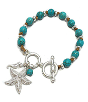 STARFISH CHARM AND TURQUOISE TOGGLE BRACELET