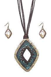 STITCH CETNER PENDANT AND MULTI CORD NECKLACE SET