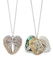 RELIGIOUS INSPIRATION MESSAGE AND ABALONE AND FILIGREE TRIPLE ANGEL WING PENDANT NECKLACE - ANGEL BLESSING