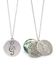 RELIGIOUS INSPIRATION MESSAGE AND ABALONE AND FILIGREE TRIPLE DISC PENDANT NECKLACE - AMAZING GRACE