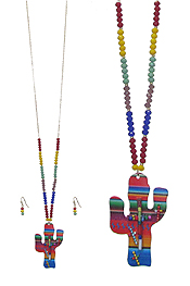MULTI COLOR SEED BEAD AND PAINT CACTUS PENDANT LONG NECKLACE SET