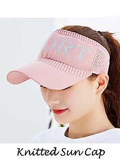 TOPLESS KNITTED SUN VISOR CAP - STRETCH BAND