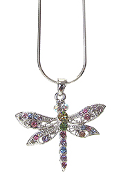 WHITEGOLD PLATING CRYSTAL DRAGONFLY PENDANT NECKLACE