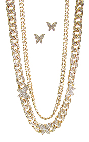 CHUNKY CUBAN CHAIN BUTTERFLY NECKLACE SET