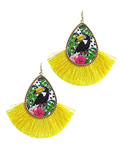 TROPICAL THEME AND FAN TASSEL EARRING - TOUCAN