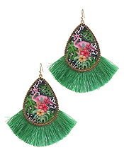 TROPICAL THEME AND FAN TASSEL EARRING - FLAMINGO