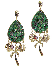 TROPICAL THEME MULTI CHARM DROP EARRING - PALM TREE