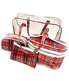 STRIPE PRINT 3 COSMETIC POUCHES AND TRANSPARENT BAG SET OF 4