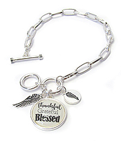 RELIGIOUS INSPIRATION CABOCHON CHARM TOGGLE BRACELET - THANKFUL GRATEFUL BLESSED