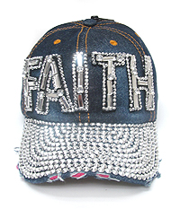 RHINESTONE WORN DENIM BASEBALL CAP - FAITH