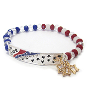 PATRIOTIC AMERICAN FLAG GLASS BEAD STRETCH BRACELET