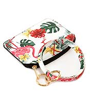 KEYRING BANGLE BRACELET WITH SMALL WALLET OR COIN PURSE - TROPICAL THEME - FLAMINGO