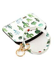 KEYRING BANGLE BRACELET WITH SMALL WALLET OR COIN PURSE - CACTUS