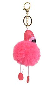 PUFFY CUSHION AND POM KEY CHAIN - FLAMINGO