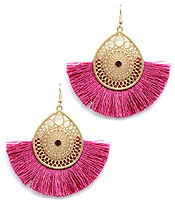 METAL FILIGREE TEARDROP AND THREAD FAN TASSEL EARRING