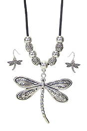 DRAGONFLY PENDANT AND CORD NECKLACE SET