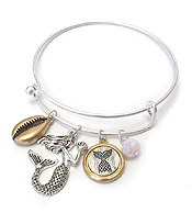 SEALIFE THEME CHARM WIRE BANGLE BRACELET - MERMAID