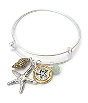 SEALIFE THEME CHARM WIRE BANGLE BRACELET - STARFISH