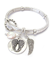 RELIGIOUS INSPIRATION ANGEL WING CHARM STRETCH BRACELET