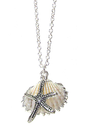 STARFISH AND NATURAL SHELL PENDNAT NECKLACE