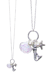 SEALIFE THEME OPAL SHELL LONG NECKLACE - MERMAID