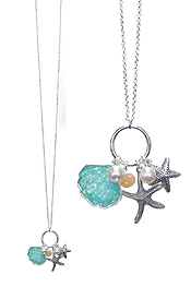 SEALIFE THEME OPAL SHELL LONG NECKLACE - STARFISH