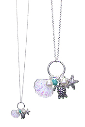 SEALIFE THEME OPAL SHELL LONG NECKLACE - TURTLE