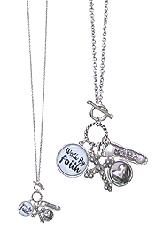 RELIGIOUS THEME MULTI CHARM CABOCHON TOGGLE LONG NECKLACE - FOLLOW BY FAITH