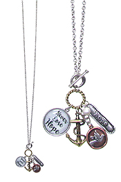 RELIGIOUS THEME MULTI CHARM CABOCHON TOGGLE LONG NECKLACE - NEVER LOSE HOPE