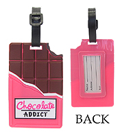 LARGE RUBBER LUGGAGE TAG - CHOCOLATE ADDICT