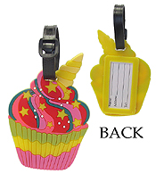 LARGE RUBBER LUGGAGE TAG - CUP CAKE