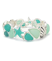 SEALIFE THEME SEA GLASS STRETCH BRACELET
