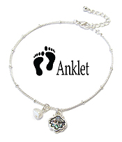 SEALIFE THEME PEARL CHARM ANKLET - SHELL