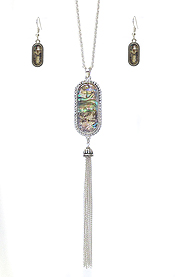 CRYSTAL AND ABALONE OVAL AND FINE CHAIN TASSEL DROP LONG NECKLACE SET