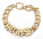 RICH LETTER AND THICK CHAIN BRACELET