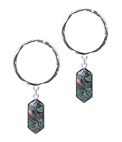 METAL HOOP AND ABALONE DROP EARRING