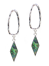 METAL OVAL HOOP AND ABALONE DROP EARRING