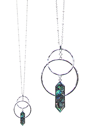 DOUBLE HOOP AND ABALONE PENDANT LONG NECKLACE